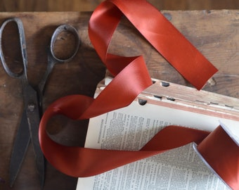 2 yards of burnt rusty red copper satin ribbon