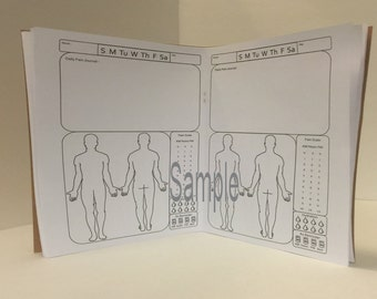 PRINTED Pain Journal/Insert For Your Traveler's Notebook-Male and Now Personal and A6 ! All sizes!! UNDATED MONTH