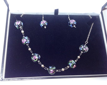 925 silver lamp work glass necklace and earrings set