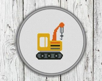 Crawler Crane Counted Cross Stitch Pattern, Construction Trucks, Vehicles, Needlepoint Pattern - PDF, Instant Download