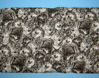 Wolf Faces Print, Quilt Fabric, Applique Fabric, Wolves, Cotton Fabric By the Yard,