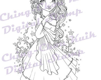 Spring Jasmine - Instant Download Digital Stamp / Flora Flower Fantasy Fairy Girl by Ching-Chou Kuik