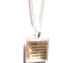 Twin Necklace, Dictionary Definition, Word Excerpt, Pendant Necklace, Gift for Her, Mother's Day Gift, Women's Literary, Book Jewelry