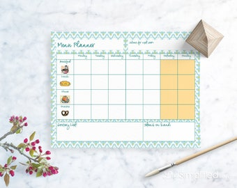 Weekly Menu Planner - Printable, INSTANT DOWNLOAD - Blue Geometric Food Planner