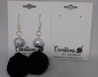 Black crochet earring with silver beads