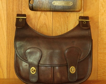 Dads Grads Sale Coach Pony Express Mocha Leather Pouch- Made In The Factory In New York City- Very Good Condition- Rare