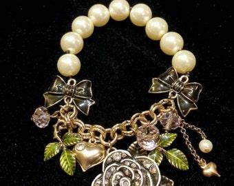 After Life Accessories Repurposed Stretch Charm Bracelet Gunmetal Rhinestone Flower