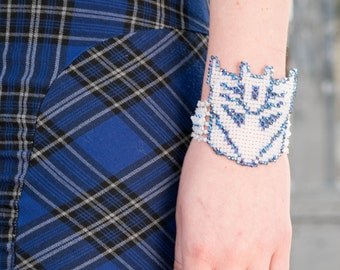 White and Iridescent Blue Swarovski Transformers Bracelet