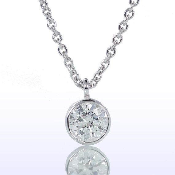 Classic bezel set diamond solitaire pendant necklace mozeypictures Image collections