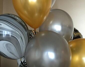 Grad Party Decoration Balloon Pack - Gold, Silver and Black Swirl Balloons - Graduation Balloons - Premium Balloons -  Swirl Balloon Set -