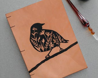 Leather Journal Bird Lover Gift Coptic Bound Journal Blank Book Journaling Sketchbook