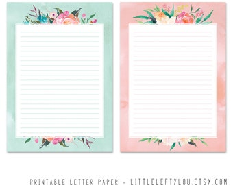 Printable Letter Paper Floral, stationery, writing, letter, stationary, A5, instant download, LittleLeftyLou, flowers, watercolor