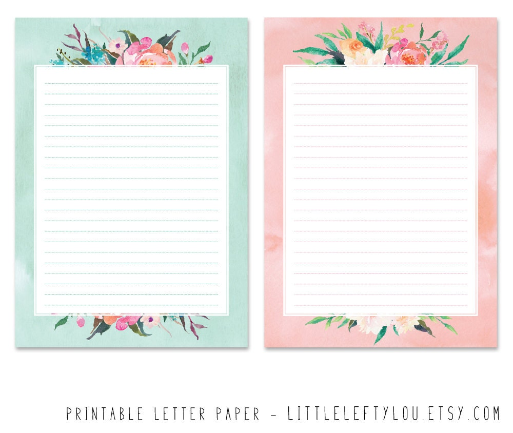 Printable Letter Paper Floral Stationery Writing Letter
