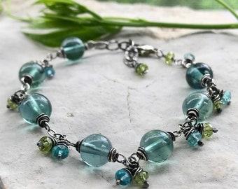 Fluorite Bracelet, Blue Bracelet, Yoga Energy Bracelet, Sterling Silver Blue Gemstone Bracelet, Yoga Gift for Her