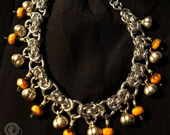 Pumpkin Patch - Pewter & Glass Chainmaille