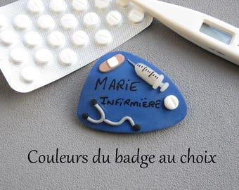 Badge infirmière, badge prénom infirmière, couleur du badge au choix, badge infirmière fimo, badge cadeau infirmière personnalisable, IDE