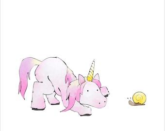 Unicorn Art Print - Playing with Pet Snail