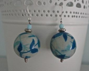 blue floral drop earrings