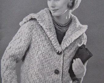 1960's Knitting Patterns PDF, Vintage Pattern Women's Sweater Coat Pattern 6702