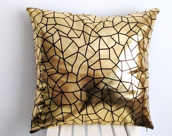 Gold Pillow, Lame Pillow Case , Lame Pillow Cover, Gold Foiled Pillow Case, Lame  Pillow,Accent Pillow , Gold pillow Case 18''