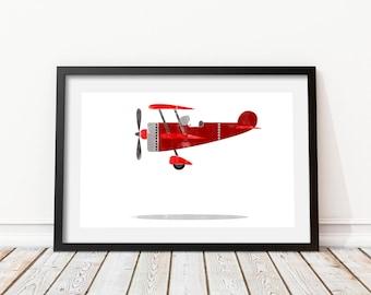 Children's airplane wall art Kids prints Airplane decor Cheerful airplane Aircraft print Airplane cartoon Airplane watercolor