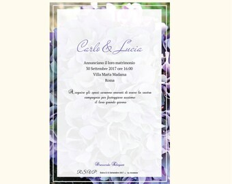 PDF | Wedding Participations | Wedding Ortensione | Purple | Lilac | Participations Bergamo | Digital graphics