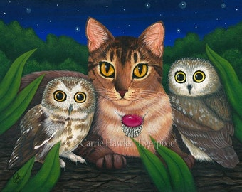 Cat Owls Art Cat Painting Saw Whet Owl Portrait Abyssinian Cat Artwork Big Eye Fantasy Cat Art Print 5x7 Art For Cat Lovers