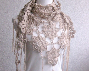 PDF CROCHET PATTERN, pattern for scarf, shawl, Beige, Crochet Scarf,  Tutorial, Shawl