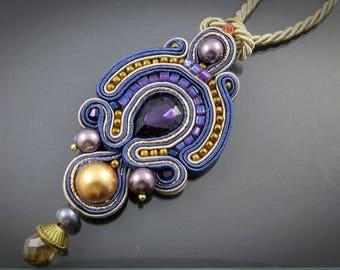 Soutache pendant with Swarovski pearls