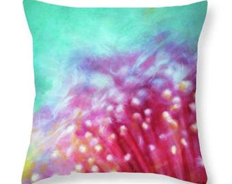 Bottlebrush Flower Abstract Pillow From My Original Pastel Painting, Artist Designed Decorative Throw Pillow, Floral