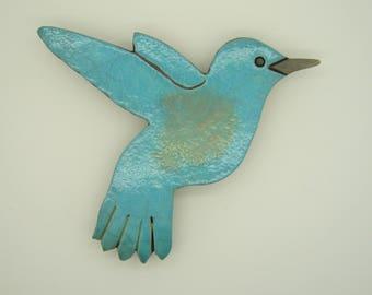 Plate wall Hummingbird raku firing