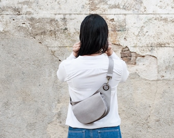 Elegant Hip Bag Leather in a Grey Soft Leather.Utility Belt In Grey Leather_Cross Body Purse. Perfect for City & Traveling