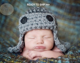 AVIATOR Hat Photo prop in Gray or ANY COLOR - Flyer Pilot Photo Shoot Newborns infant girl boy photography new baby all babies hat photo