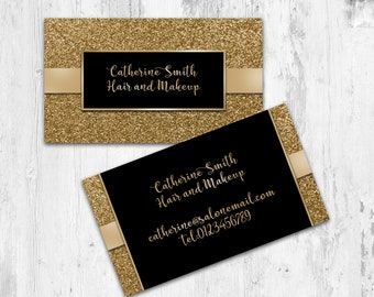 Makeup Artist Business Card Design-Gold, Glitter, PDF business card. Printable
