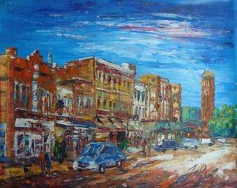 Looking up Broad Street, Selma, Alabama-Pen King -A527