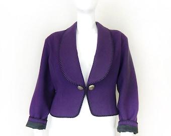 Vintage 90s Cropped Purple Wool Western Wear Jacket - Size Large - Blanket Stitched Shawl Collar Women's Jacket