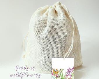 Plant Kit, Organic Sweet Basil Seeds Cilantro Easy Gardening in Burlap Sack, Boyfriend gift, Girlfriend Gift, Herb Gardening