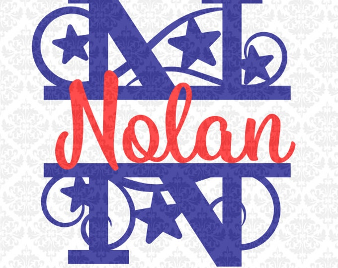 Star Independence Day Patriotic Split Alphabet Monograms SVG Ai EPS Scalable Vector Instant Download Commercial Use Cricut Silhouette