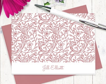 personalized stationery set - STENCIL FLOWER VINES - set of 8 folded note cards - stationary gift set - choose ink and envelope color