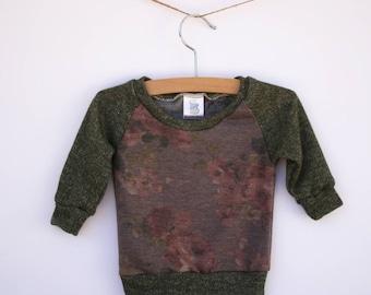 girls lightweight sweatshirt, floral sweater, floral shirt, toddler girls sweatshirt, baby girl sweatshirt, baby girl sweater