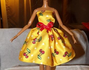 Robe de soirée avec écharpe rouge bow pour POUPEES mannequins - ed683 d'impression jaune vif cerise