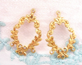 Raw Brass Victorian Floral Chandelier Earring Findings Connectors Leaf Bow - 4