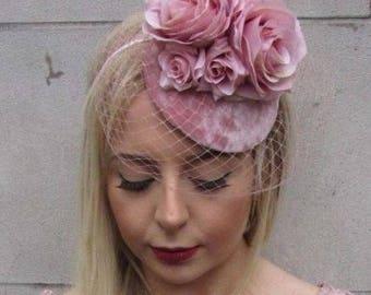 Blush Dusty Dusky Pink Rose Flower Birdcage Veil Hair Fascinator Races Hat 4964