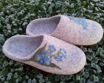 Gift idea Women slippers with soles Felted slippers Forget-me-nots Organic wool women house shoes  Gift for mother  Gift for her