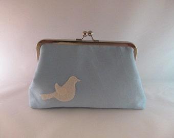 Robin's Egg Blue Bird Clutch Purse-Clutch-Purse-Handbag-Kisslock-8 inch