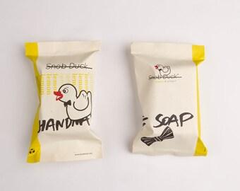 Snob Duck Lemon & Ginger Handmade Soap. With olive oil, coconut oil, pure lemon and lime juice, ginger, sesame oil, cocoa butter.