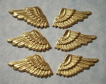 6 Raw Brass Angel Wings Stampings