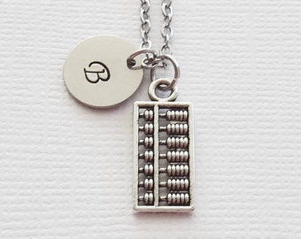 Abacus Necklace Counting Necklace Mathematician Teacher Gift Professor Gift Silver Jewelry Personalized Monogram Hand Stamped Letter Initial