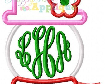 Monogram Snow Girl Machine Embroidery Applique Design