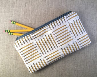 White and Yellow Pencils Fabric Pouch: Zipper Pencil Makeup Pouch